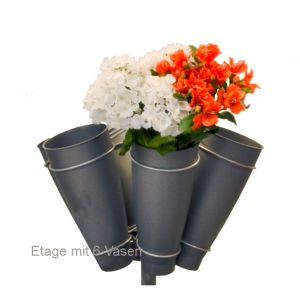 Blumenetage mit 6 Vasen