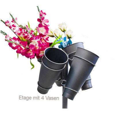 Blumenetage schräg mit 4 Vasen
